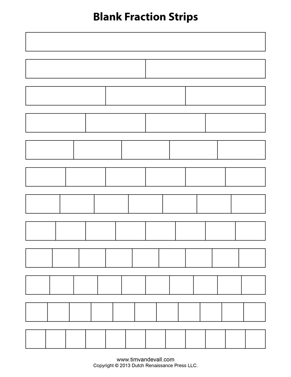 Free Printable Fraction Strips Blank Fraction Bars