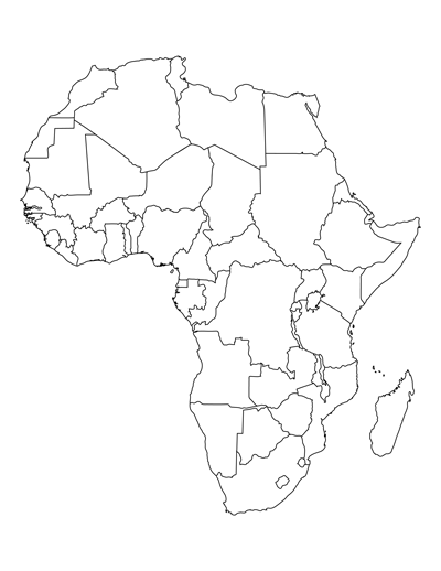 This is a graphic of Printable Africa Map within template