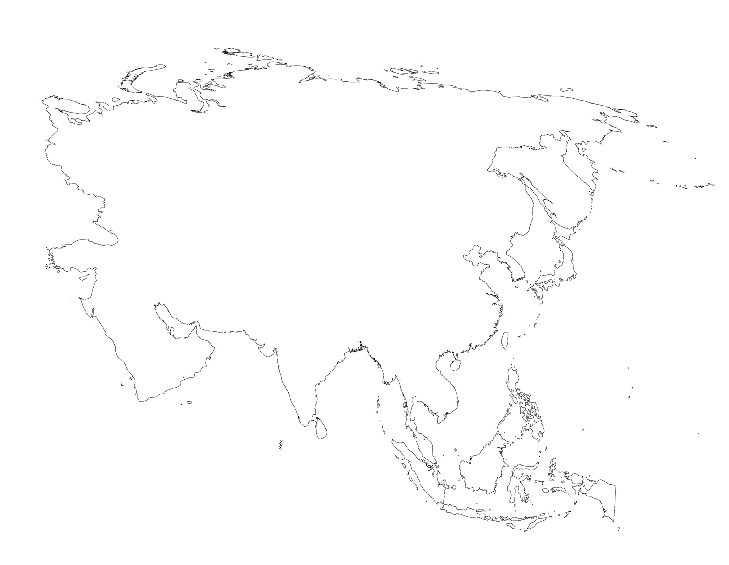 Blank Map Of Asia With Country Outlines