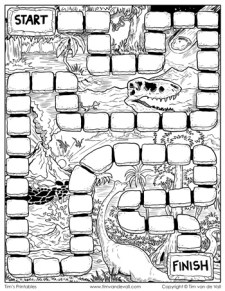 board game template - dinosaurs - black and white
