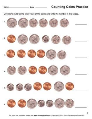 counting money printable worksheet