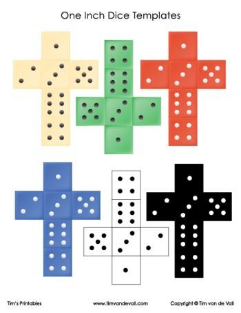one inch dice templates