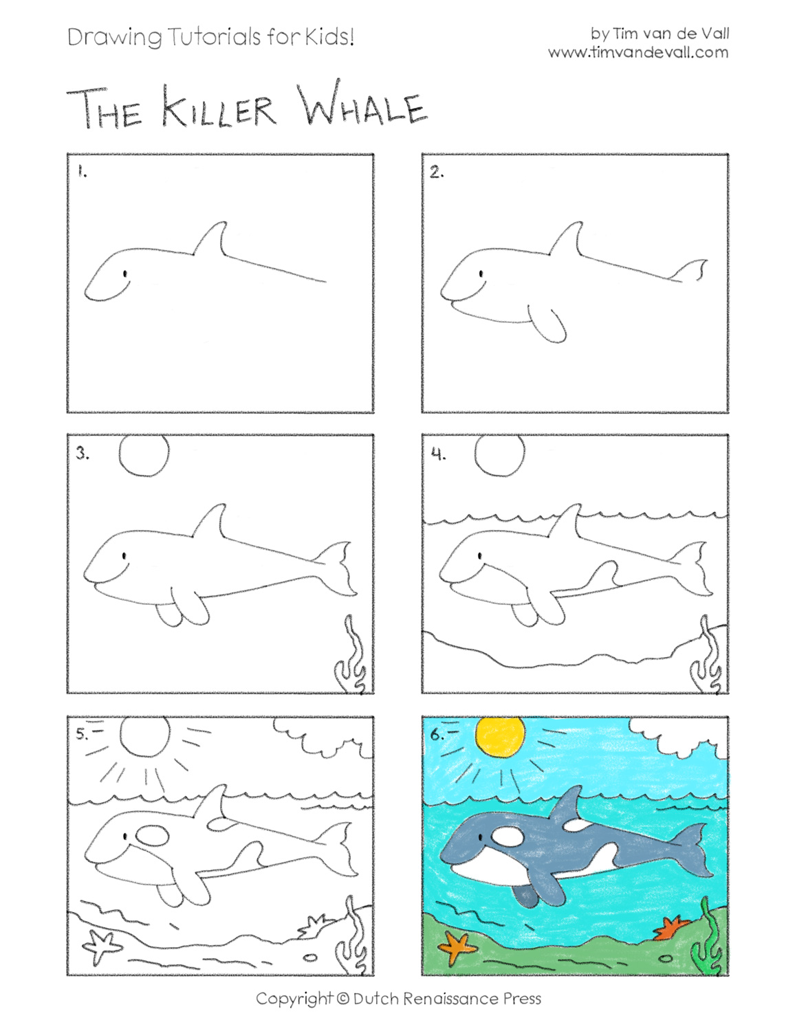 Easy Drawing Tutorials For Kids Killer Whale Orca Tim S Printables