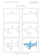 Easy Drawing Tutorials for Kids - Shark