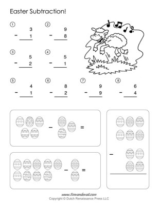 Easter Math Worksheets - Subtraction Worksheet