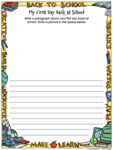 My First Day at School Paragraph Worksheet