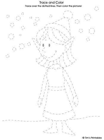 Elf Girl Tracing Sheet