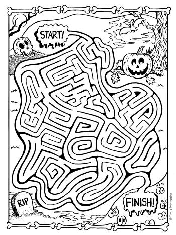 halloween maze - black and white