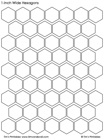 hexagon templates 1-inch wide black and white