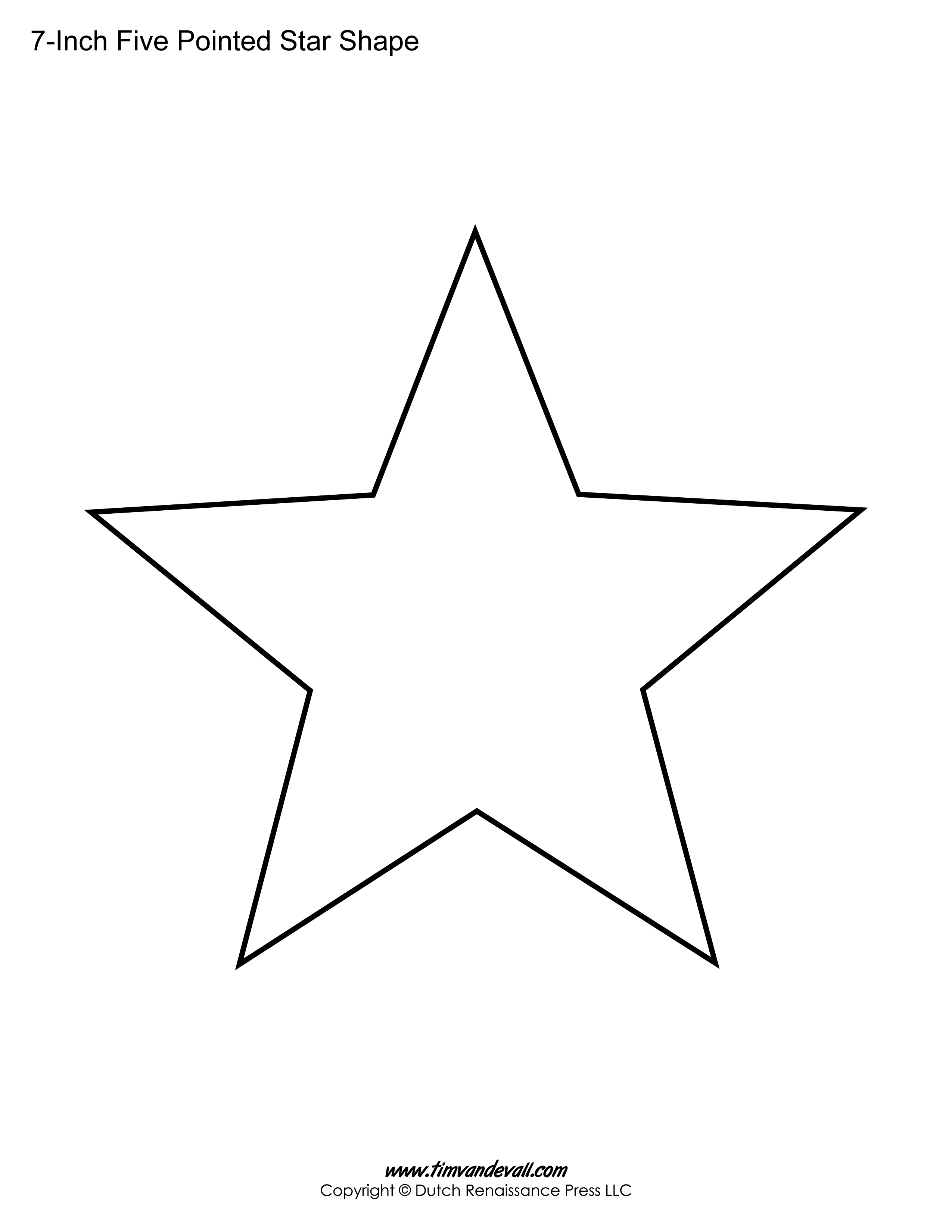 Printable Five Pointed Star Templates Blank Shape S