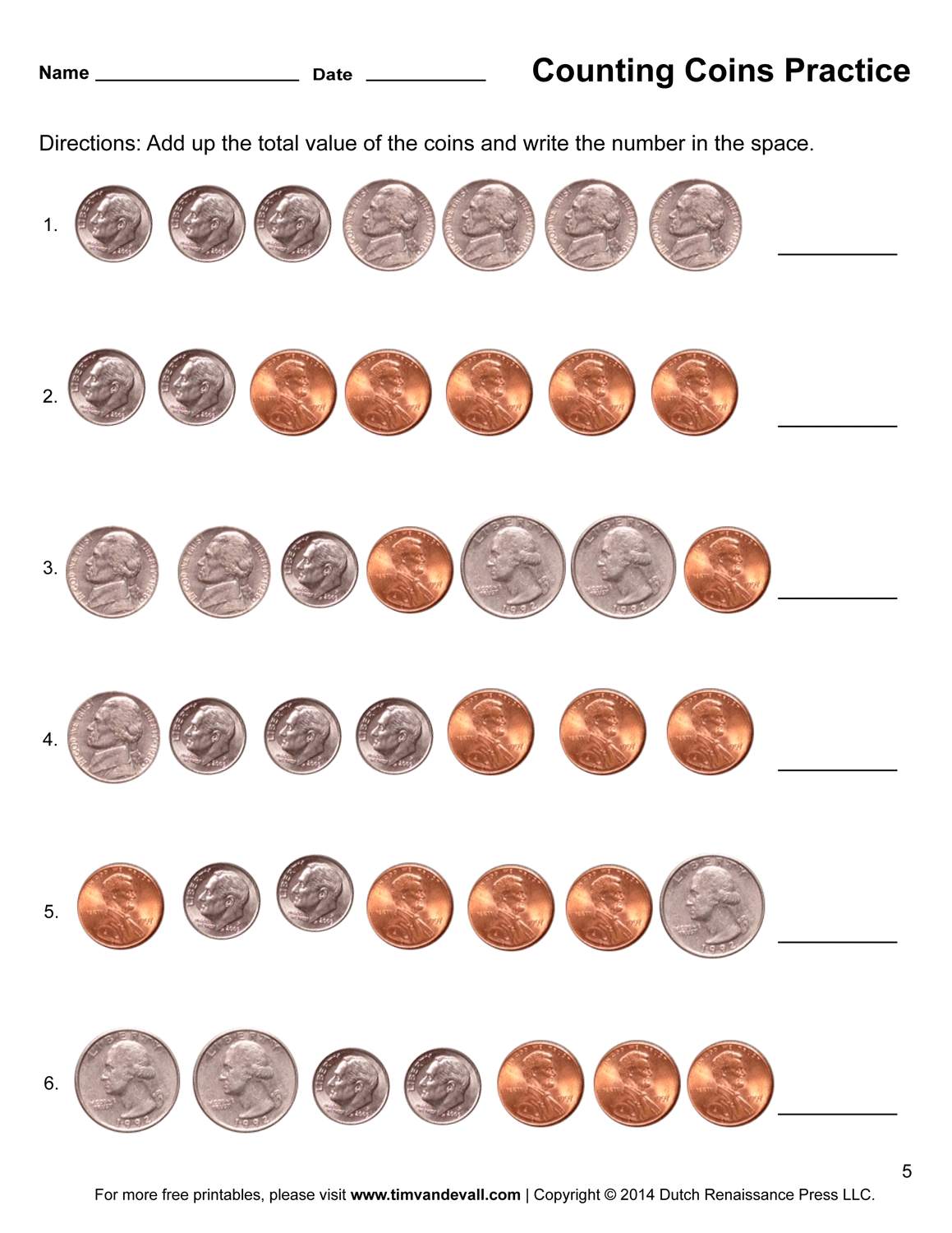 Free Counting Pennies Worksheet