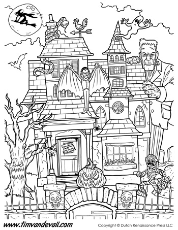 Haunted House Coloring Page Tim S Printables