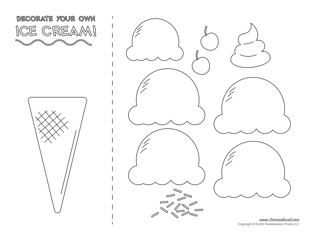 Ice Cream Templates And Coloring Pages For An Ice Cream Party