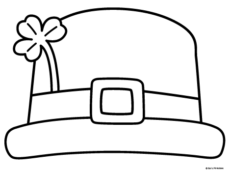 black and white leprechaun hat template