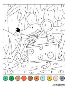 Color by Number Worksheet - Mouse