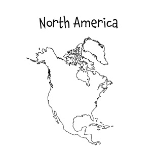 Bewitching image within printable map of north and south america