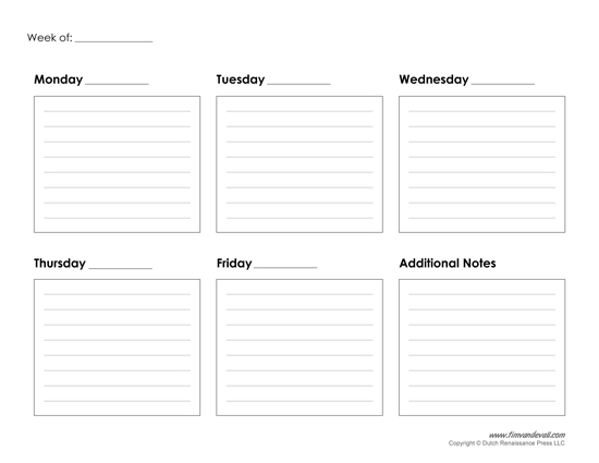 printable weekly calendar template
