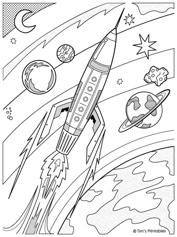 Rocketship Coloring Page