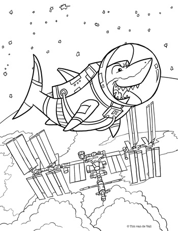 Shark in Space Coloring Page