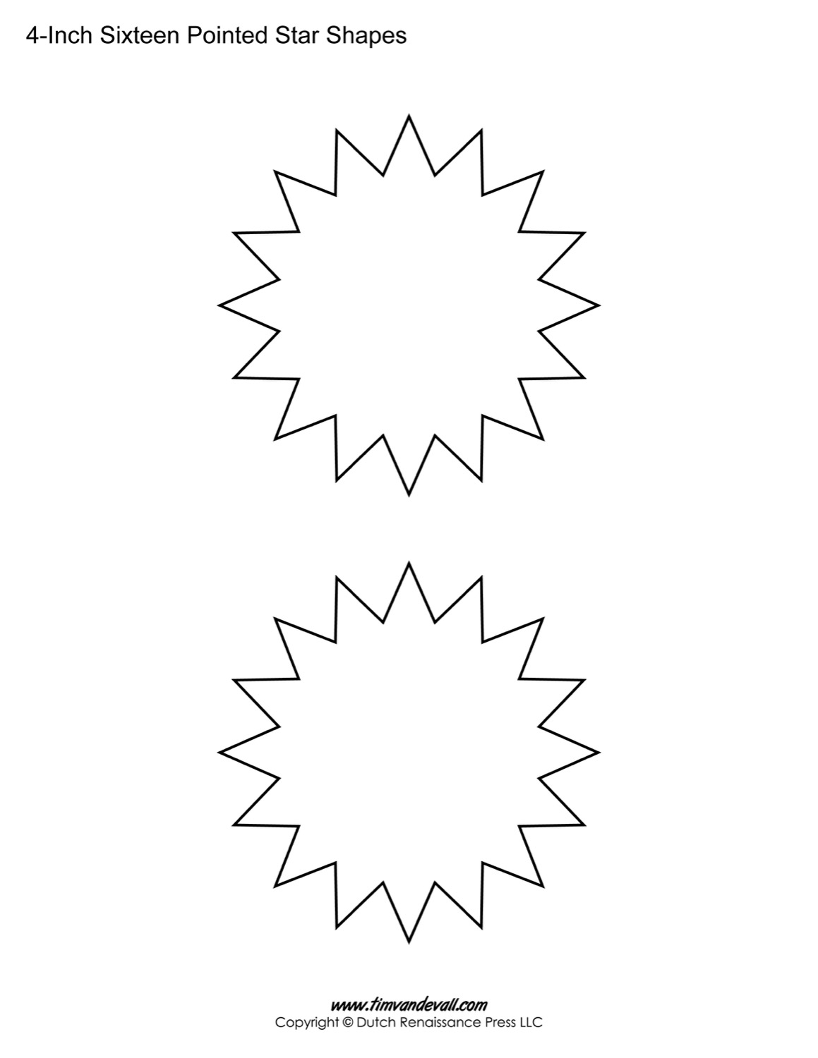 Printable Sixteen Pointed Stars for Decorations & Art Crafts