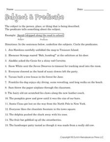Subject & Predicate Worksheets