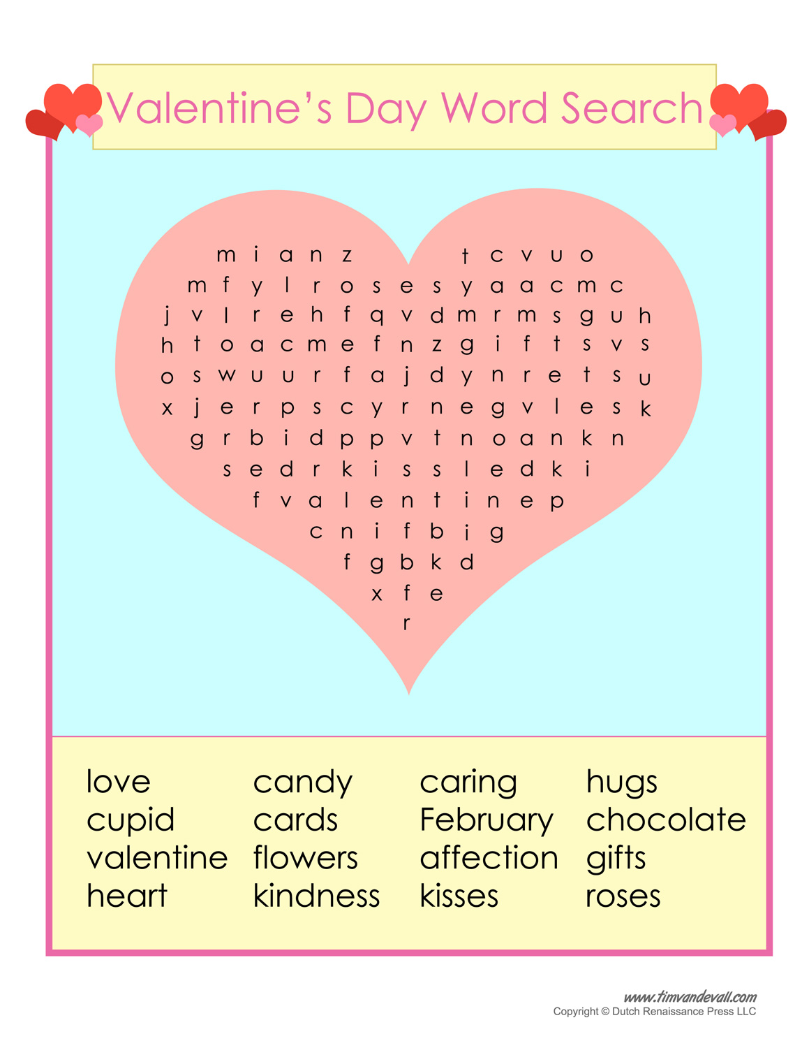 Free Valentine S Day Word Search Printable