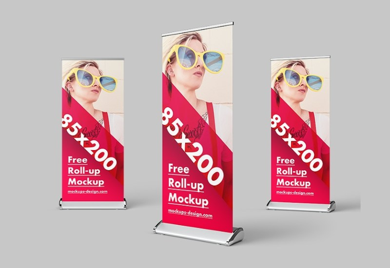 40 photorealitic roll up standing banner psd mockup templates
