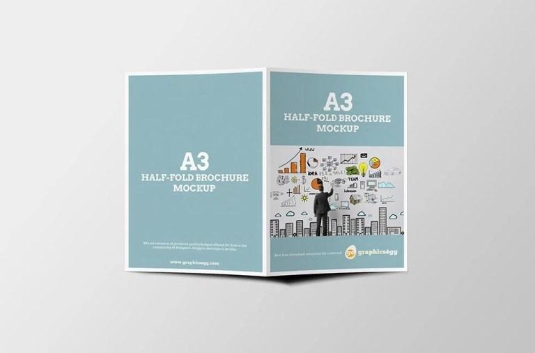 a3 half fold brochure mockup mockupworld