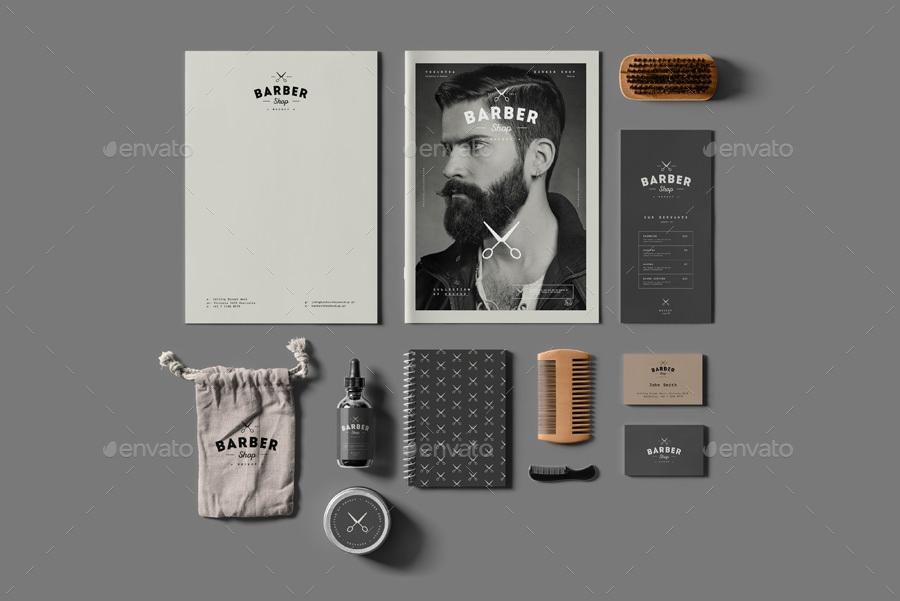 barber shop branding mock up yogurt86 graphicriver
