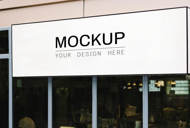 blank rectangle shop sign mockup psd file free download