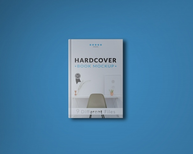 book cover on blue background mock up psd file free download