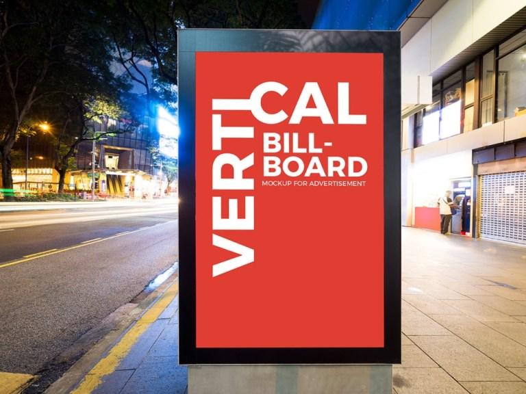 city street vertical billboard mockup free free mockup