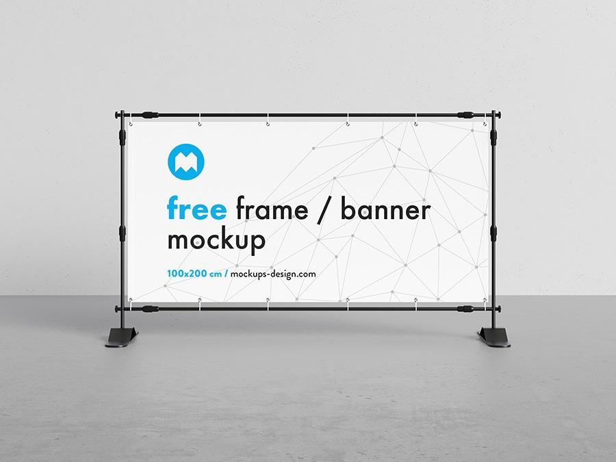 free banner frame stand mockup 100 x 200cm mockups design