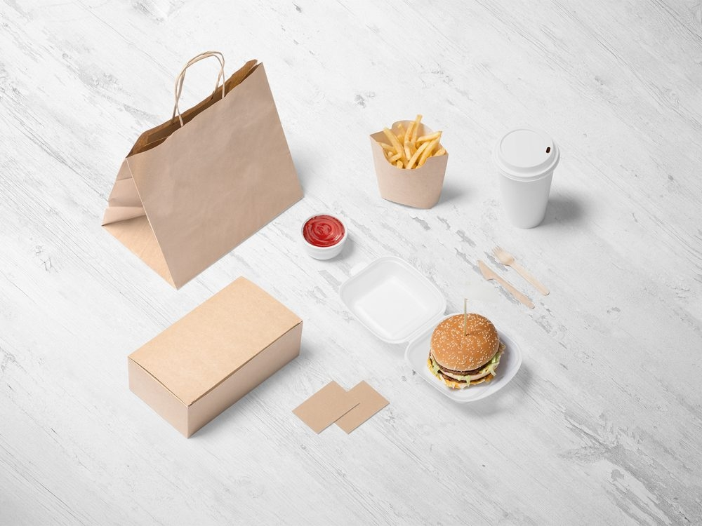 free burger store branding mockup free mockup