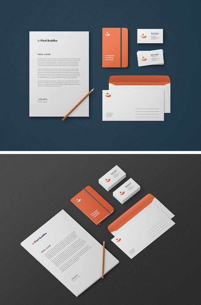 free business stationery mockup download psd template