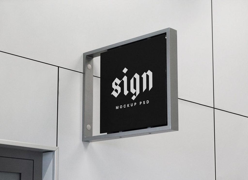 free indoor wall mounted signage mockup psd good mockups