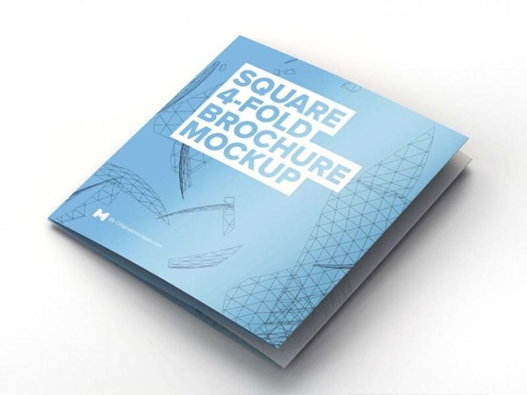 free square 4 fold brochure mockup mockuplove