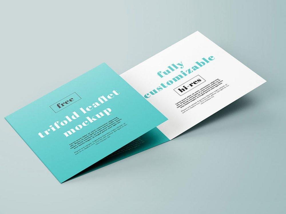 free trifold square brochure mockup daily mockup