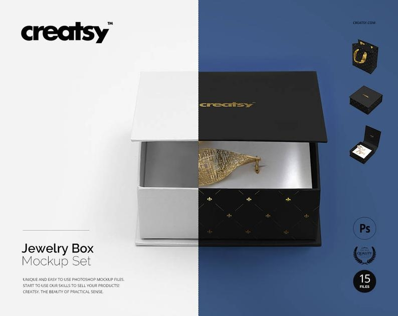 jewelry box mockup set for earrings jewelry bag template etsy