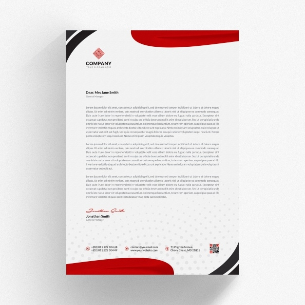 letterhead mockup with red wavy shapes psd file premium download
