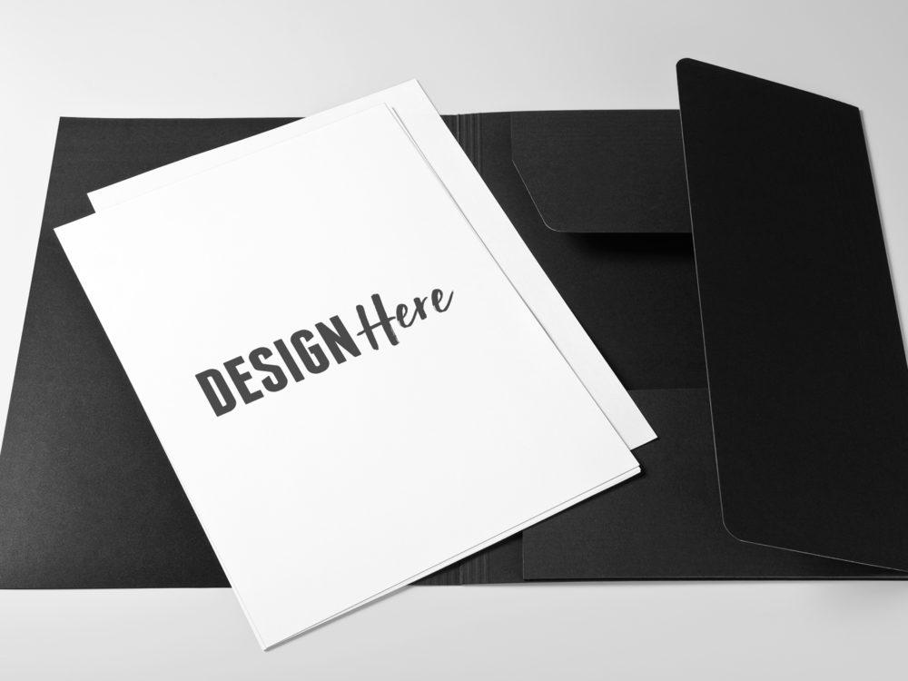 letterhead on black folder mockup psd template