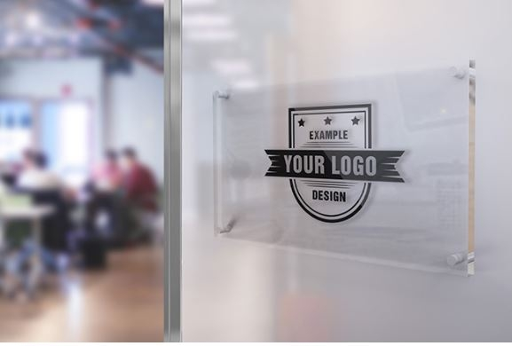 logo on office glass sign mockup template sharetemplates