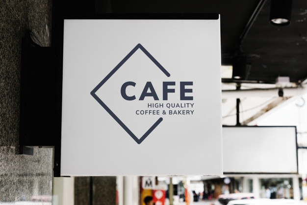 minimal coffee shop sign mockup psd file free download