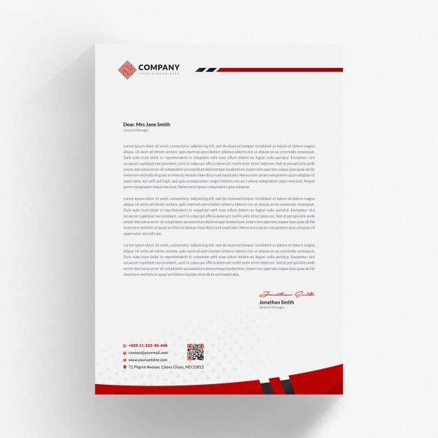 red letterhead mockup psd file premium download