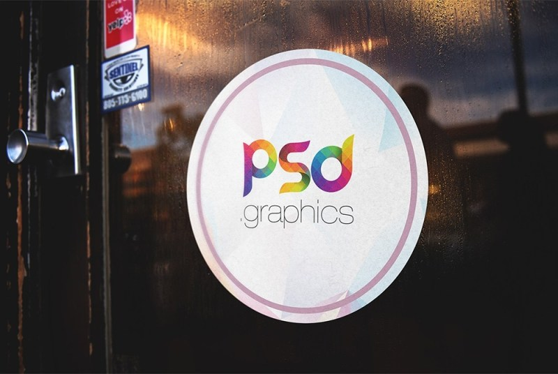 round sticker on door mockup psd graphics