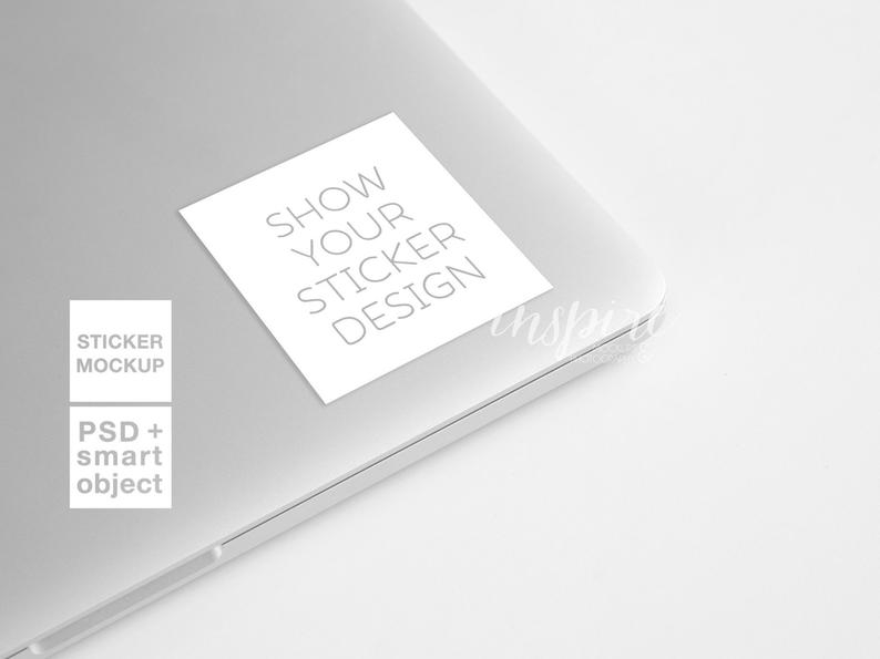 square sticker mockup laptop styled stock photography for etsy