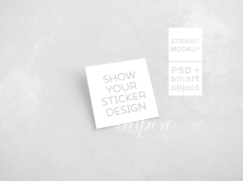 square sticker mockup minimalist styled stock photography etsy