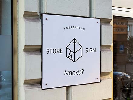 square wall store sign mockup psd