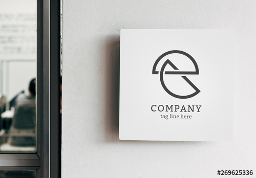 white square sign mockup on a wall buy this stock template and