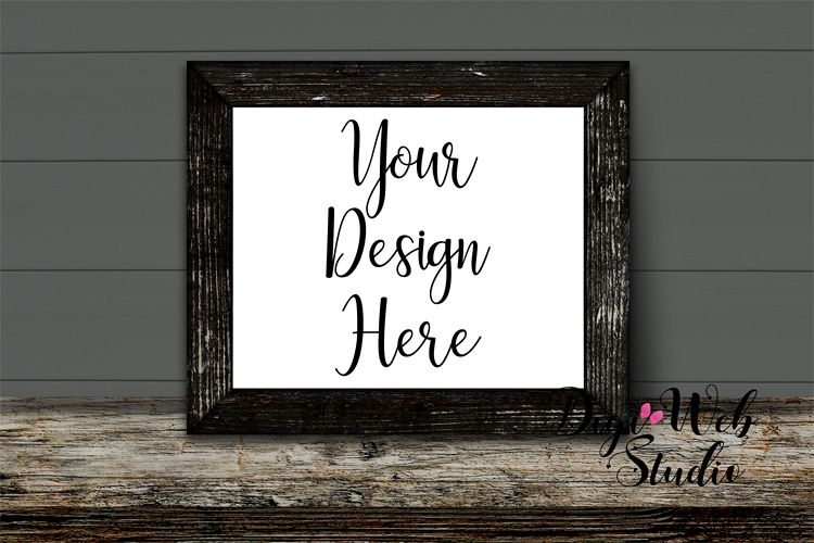 wood sign mockup distressed wood frame on rustic shelf